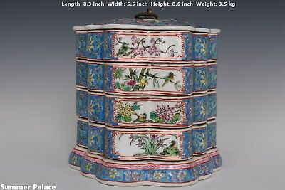 Fine Beautiful Chinese Famille Rose Porcelain Flowers and Birds Boxes