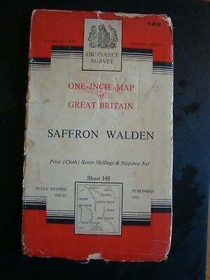 Old, Cloth Ordnance Survey Map of Saffron Walden Sheet 148  (1951-52)