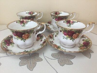 Royal Albert Old Country Roses 4 x Cups & Saucers Early Stamp 1st Quality