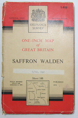 1958 vintage OS Ordnance Survey one-inch Seventh Series map 148 Saffron Walden