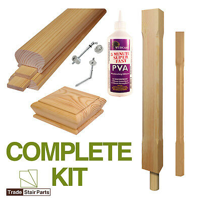 STAIRCASE KIT - LOWER BANNISTER - 2.4 metres - Post to Ceiling - Modern - PINE
