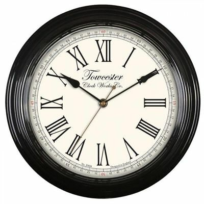 Acctim Redbourn Vintage Battery Operated Quartz Roman Numeral Wall Clock - Black