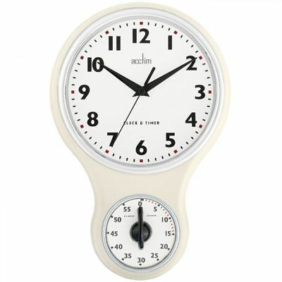 Acctim Retro Battery Operated Kitchen Time Wall Clock & 1 Hour Timer - Cream