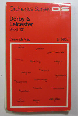 1966 vintage OS Ordnance Survey One-inch Seventh Series Map 121 Derby Leicester