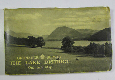 1948 Old Vintage OS Ordnance Survey One-Inch Tourist Map Lake District A Furness