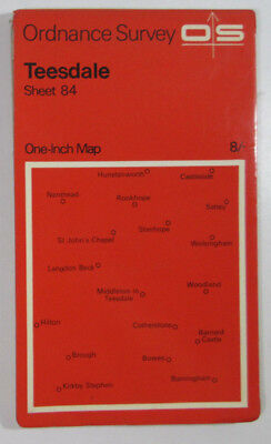 1970 old vintage OS Ordnance Survey seventh series one-inch Map 84 Teesdale