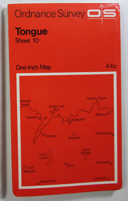 1972 old vintage OS Ordnance Survey One-inch Seventh Series map 10 Tongue