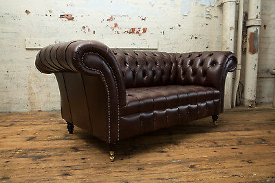 Handmade Chesterfield Sofa Couch Chair 2 Seater Vintage Antique Brown Leather