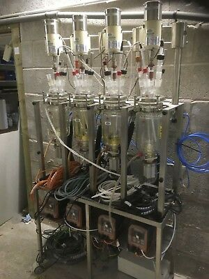 LAB MULTI REACTOR w/JACKETED VESSELS STIRRERS PUMPS HEATERS PROBES & RACK