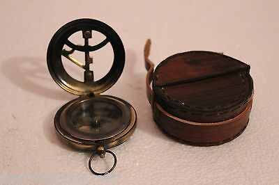 "3"" Push Button Sundial Compass Nautical Brass Compass with Leather  Case"