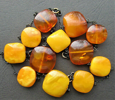 Antique Natural Butterscotch Egg Yolk Baltic Amber Beads Silver Necklace 75Gr.