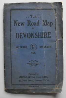Approx 1930 old vintage Geographia New Road Map of Devonshire on cloth