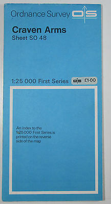 1966 old vintage OS Ordnance Survey 1:25000 First Series Map SO 48 Craven Arms