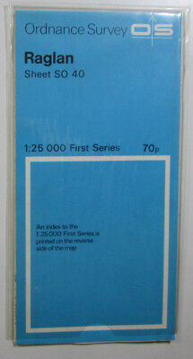 1973 old vintage OS Ordnance Survey 1:25000 First Series map SO 40 Raglan