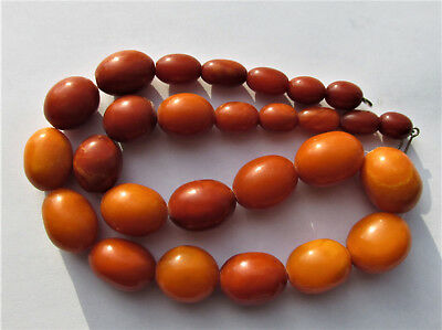 Beautiful Antique Natural Butterscotch Egg Yolk Baltic Amber Beads Necklace