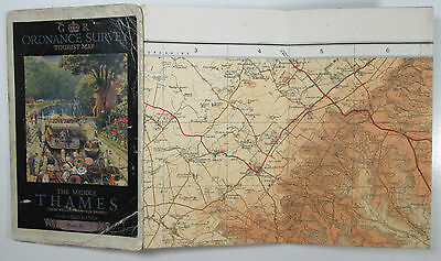 1926 Old Vintage OS Ordnance Survey One-Inch Tourist Map The Middle Thames