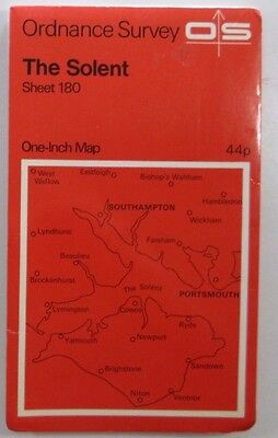 1971 old vintage OS Ordnance Survey Seventh Series one-inch map 180 The Solent