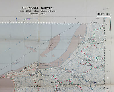 1959 old OS Ordnance Survey 1:25000 First Series map ST 36 Weston-super-Mare