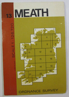 1974 Old Vintage OS Ordnance Survey of Ireland Half-inch Map Sheet 13 Meath