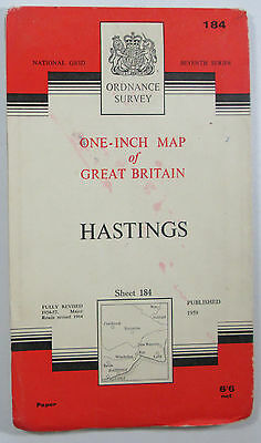 Old Vintage 1965 OS Ordnance Survey One-Inch Seventh Series Map 184 Hastings
