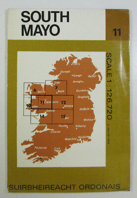 1976 Old Vintage OS Ordnance Survey of Ireland Half-inch Map Sheet 11 South Mayo