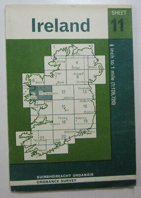 1965 Old Vintage OS Ordnance Survey of Ireland Half-inch Map Sheet 11 South Mayo