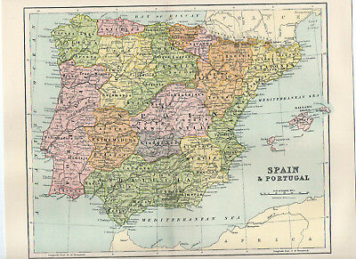 Map Of Spain & Portugal Antique W&R Chambers
