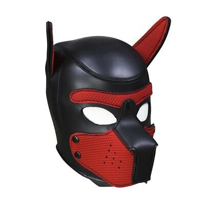 Leather puppy Hood,mask Red Quality Neopreme detacable snout. Size M