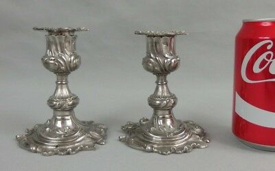 Pair Antique French Rococo Solid Silver Small Candlesticks Candle Holders 19th C