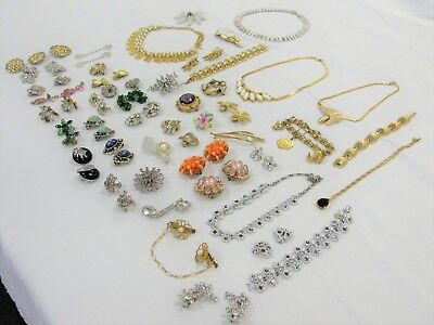 Vintage 47 Piece Assorted Costume Jewelry Mixed Lot Earrings Necklaces Bracelets