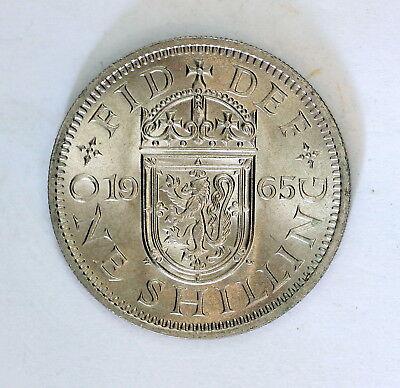 """1965 British Old Shilling, In """" Beautiful"""" Unc Condition Full Of Lustre"""