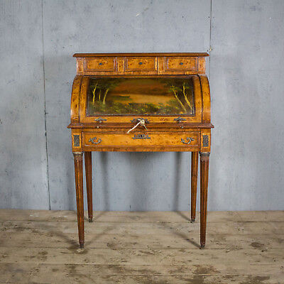 Lovely French Antique Roll Top Bureau, Original Desk With Bronze Work