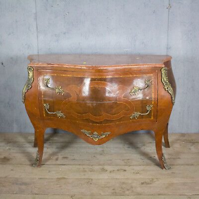 Beautiful Antique French Bombe Chest Of Drawers, Marble Top, Vintage