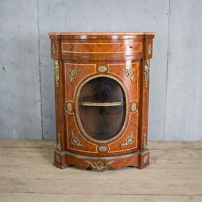 Antique French Inlaid Marble Top Corner Cabinet, Vintage