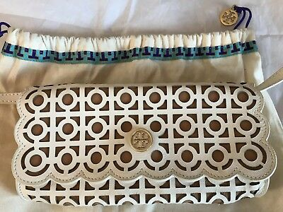 0fed2fbbfa7a Tory Burch Kelsey Laser Cut Leather Clutch Bag Cream Tan New Shoulder Strap