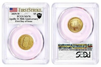 2019 W $5 Gold Apollo 11 50th Anniversary PCGS MS70 First Strike First Day Issue