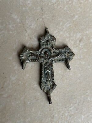 Rare Ancient Christian Byzantine Bronze Engraved Cross