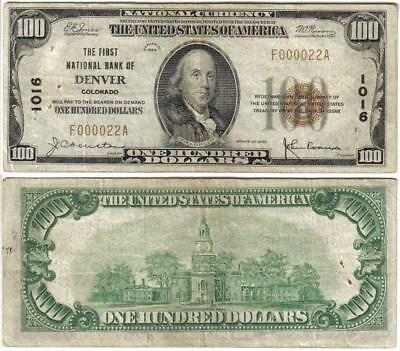 DENVER CO 1929 $100 National Currency VERY LOW Serial #000022 Colorado Bank Note