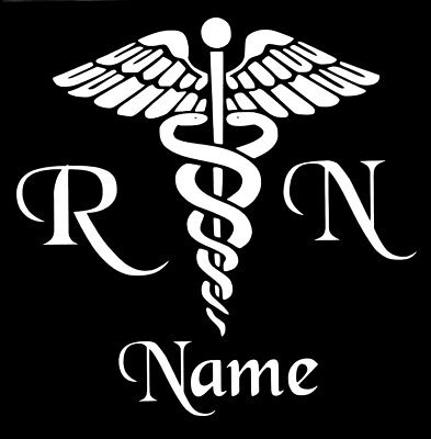 Personalized Caduceus Snake Medical Emblem Vinyl Decal Sticker RN Nurse Yeti Cup