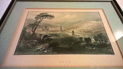 Antique mid 19th century print Bath Somerset view hand coloured framed England