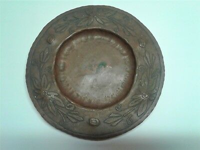 "Antique Hand Hammered Copper 8.25"" Plate Signed Otto Schneider Dated Dec. 5 1925"