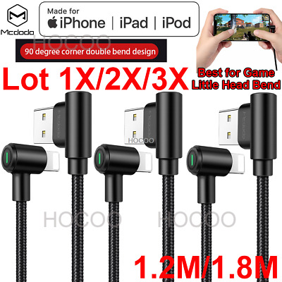 Lot 3X2X1X Elbow Led Right Angle USB Charger lightning Cable iPhone 8 7 6 XS X