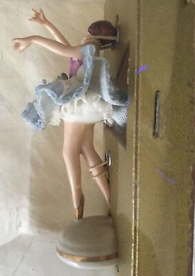 ANTIQUE VINTAGE DRESDEN Lace Marked Porcelain Ballerina Figurine in box  small