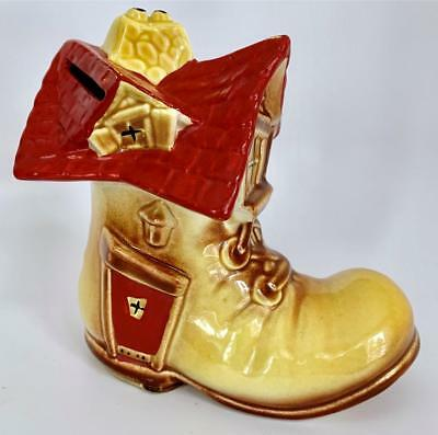 Vintage Shoe Boot  House Bank Yellow Red Ceramic