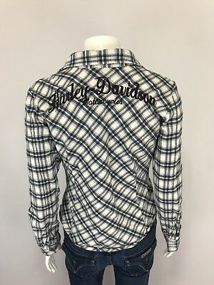 2f7603e6 Harley Davidson Womens Flannel Shirt Size Small Long Sleeve Button Front  Plaid