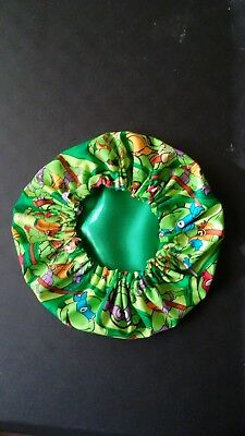 NEWBORN BABY SIZE UNISEX NINJA TURTLES GREEN Satin Lined Bonnet Sleep/Night Cap