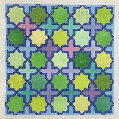 Kate Dickerson Hand painted Needlepoint Canvas Moroccan Tiles blue grout green