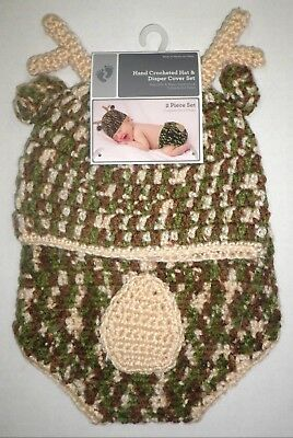 NWT Baby Crochet Camo Deer Beanie Hat and Diaper Cover SET Photo Prop 0-9 c273e73af5f5