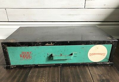 Metal Green Black One Drawer Parts Cabinet Vintage Old