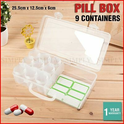 Pill Box 9 Containers Day Cases Large Medicine Storage Tablet Boxes Organiser